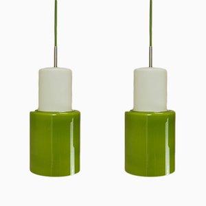 Lampes à Suspension en Verre Opalin Vert, Danemark, 1960s, Set de 2