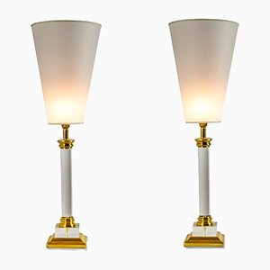 Plexiglass & Brass Table Lamps, 1970s, Set of 2