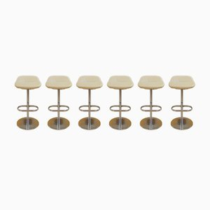 Cream Leather Turtle Bar Stools by Pearson Lloyd for Walter Knoll, 2005, Set of 6