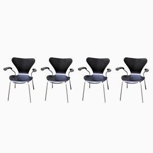 Ref 3207 Chaises de Salle à Manger par Arne Jacobsen pour Fritz Hansen, 1960s, Set de 4