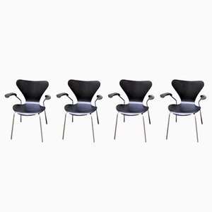 Ref 3207 Dining Chairs by Arne Jacobsen for Fritz Hansen, 1960s, Set of 4