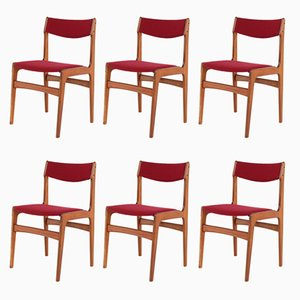 Scandinavian Red Side Chairs, 1970s, Set of 6