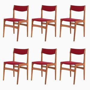 Sillas auxiliares escandinavas en rojo, años 70. Juego de 6
