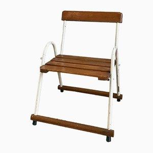 Sedia da bambino vintage in metallo e legno