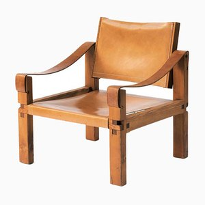 Cognac Leather S10 Easy Chair by Pierre Chapo, 1970s
