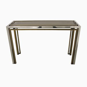 Chrome & Brass Console Table by Romeo Rega, 1970s
