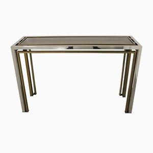 Mesa consola de metal cromado y latón de Romeo Rega, años 70