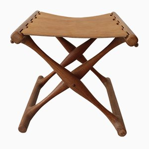 Teak Guldhoj Folding Stool by Poul Hundevad for Vamdrup Stolefabrik, 1960s