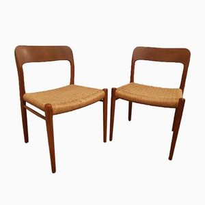 Vintage Teak Chairs by Niels Otto Møller for J.L. Møllers, Set of Two