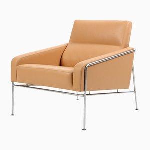 Butaca serie 3300 vintage de cuero natural de Arne Jacobsen para Fritz Hansen