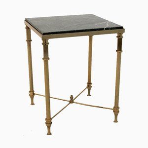 French Marble and Brass Side Table, 1960s