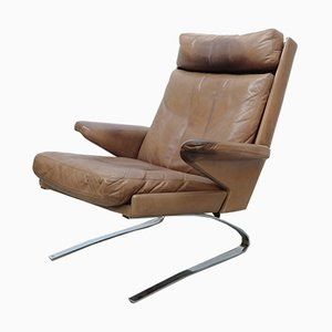 Leather Swing Lounge Chair with Footstool by Reinhold Adolf for Cor, 1960s