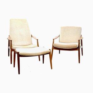Sessel, Armlehnstuhl & Fußhocker von Hartmut Lohmeyer für Wilkhahn, 1950er