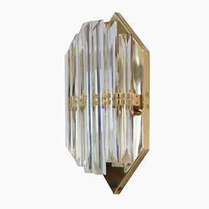 Aplique italiano vintage de latón con hexágono de cristal de Murano de Novaresi