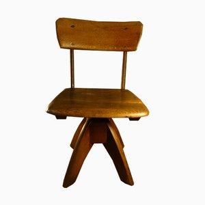 Small German Wooden Desk Chair from J. Kottmann, 1950s