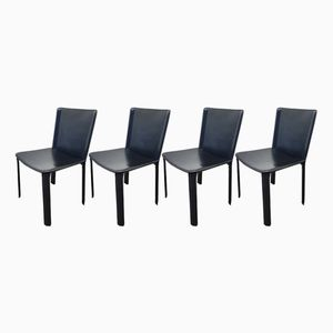 Leather Dining Chairs by Willy Rizzo for Cidue, 1980s, Set of 4