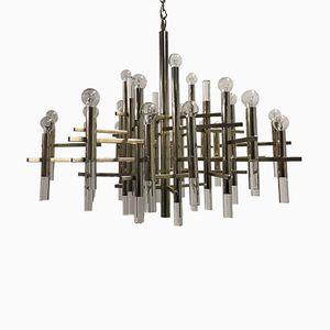 Großer Kronleuchter aus Chrom & Plexiglas von Gaetano Sciolari, 1960er