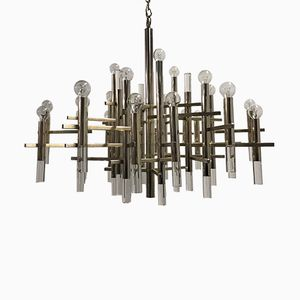 Large Chrome & Lucite Chandelier by Gaetano Sciolari, 1960s