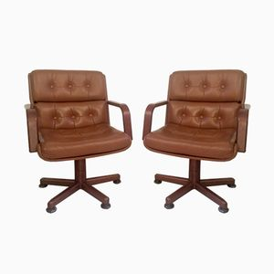 Italian Leather & Wood Swivel Chairs, 1986, Set of 2