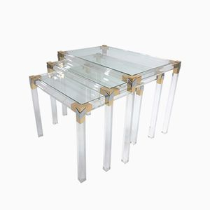 Brass & Lucite Nesting Tables, 1970s, Set of 3
