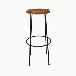 Bar Stool with Wicker and Iron Seat, 1950s