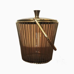 Smoked Glass and Brass Ice Bucket, 1960s
