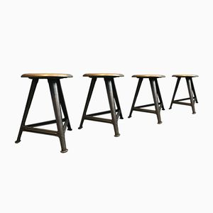 Vintage Industrial Stools by Robert Wagner for Rowac, Set of 4