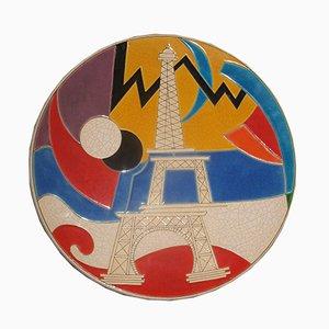 L'Assiette The Electric Tower (La Tour Electrique) par Danillo Curetti pour Longwy, 1980s