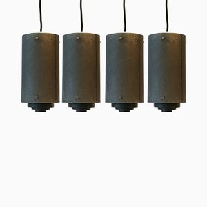 Metal Ceiling Lights, 1950s, Set of 4