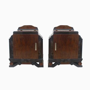 Art Deco Spanish Walnut Nightstands, 1940, Set of 2