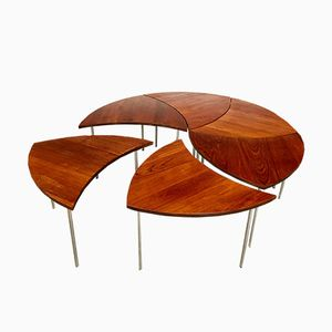 FD 523 Teak Pin Wheel Tables by Peter Hvidt for France & Daverkosen, 1950s, Set of 6