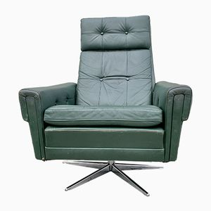 Vintage Danish Green Leather Swivel Armchair