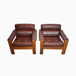 Scandinavian Leather & Oak Lounge Chairs, 1970s, Set of 2