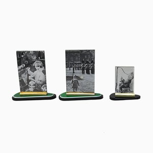 Art Deco Brass & Bakelite Photo Frames, Set of 3