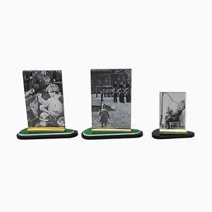 Art Deco Fotorahmen aus Messing & Bakelit, 3er Set
