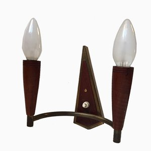 Mid-Century Danish Teak & Brass Double Sconce, 1950s