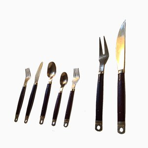 Mid-Century Danish Brass & Teak Cutlery Set from Carl Cohr, Set of 55