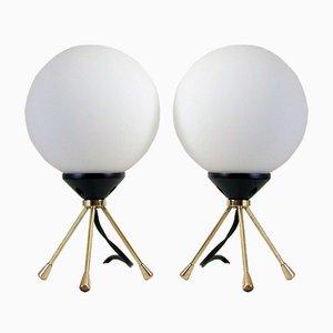 Dreibeinige italienische Mid-Century Tischlampen, 2er Set