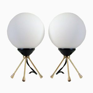 Mid-Century Italian Tripod Table Lamps, Set of 2