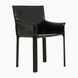 Black Leather Armchair from de Couro, 1980s