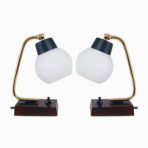 Dänische Tischlampen aus Teak & Opalglas, 1950er, 2er Set