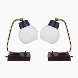 Danish Teak and Opal Glass Table Lamps, 1950s, Set of 2