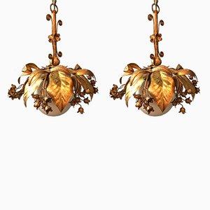 Vergoldete kugelförmige Hängelampen von Banci Firenze, 1950er, 2er Set