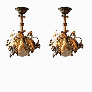 Gilt Globe Pendants from Banci Firenze, 1950s, Set of 2