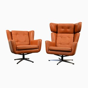 Mid-Century Modern Leather Swivel Chairs from Skjold Sørensen, 1960s, Set of 2