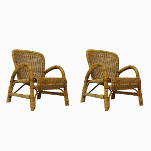 Rattan Chairs, 1950s, Set of 2