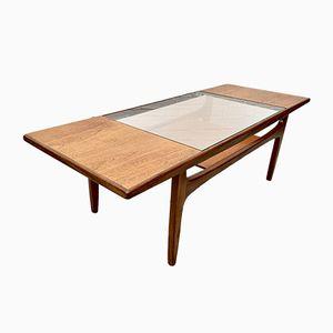 Mesa de centro vintage de teca con vidrio