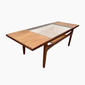 Vintage Teak Coffee Table with Glass