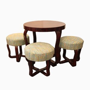Art Deco Coffee Table & 3 Stools, 1930s