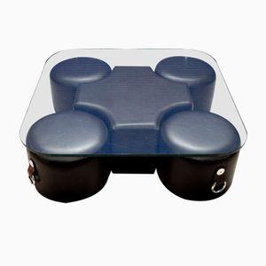 Mesa de centro vintage con 4 taburetes removibles de Guido Faleschini para Hermès